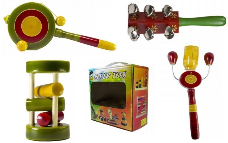 CeeJay Set of 4 Colorful Wooden Baby Toys:Model RA-OW010 Rattle(Multicolor)