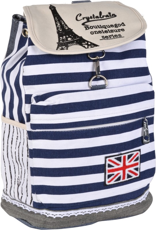 Kleio Stripe Casual Canvas 19.9 L Backpack(White, Blue)