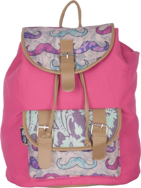 Kanvas Katha Digitally printed canvas 15 L Backpack(Pink)