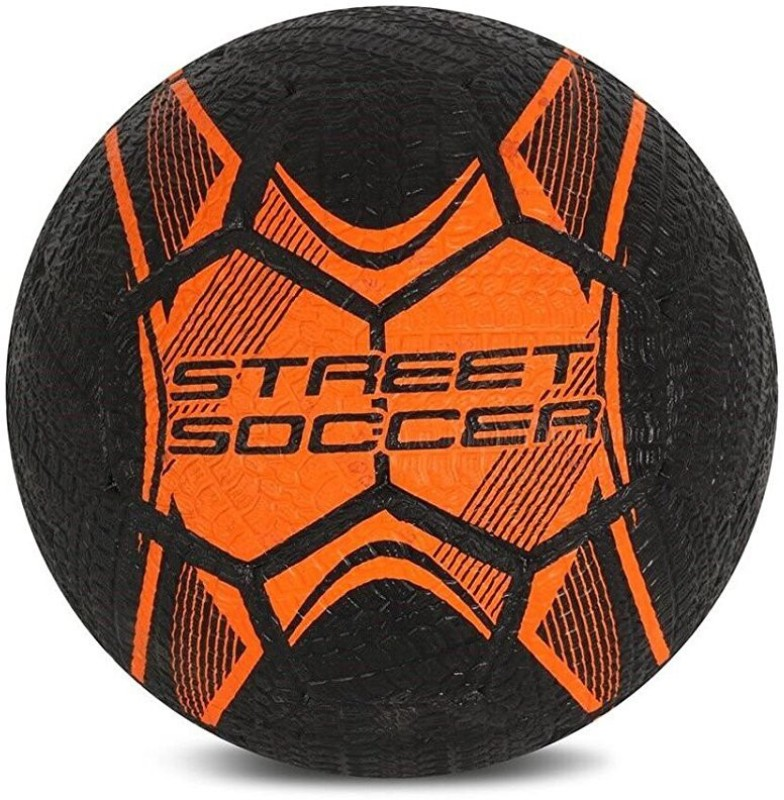 Vector X Street Soccer Rubber Moulded Football - Size: 5(Pack of 1, Black, Orange)