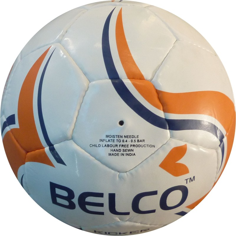 Belco Kicker 3 Football - Size: 5(Pack of 1, White, Orange)