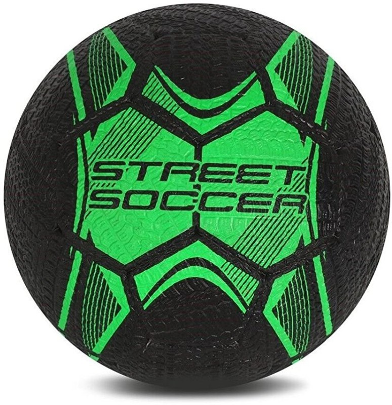 Vector X Street Soccer Rubber Moulded Football - Size: 5(Pack of 1, Green, Black)