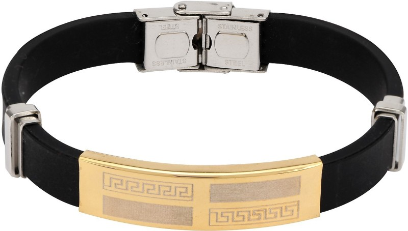 Stylepotion Stainless Steel, Silicone Silver, Gold-plated Bracelet