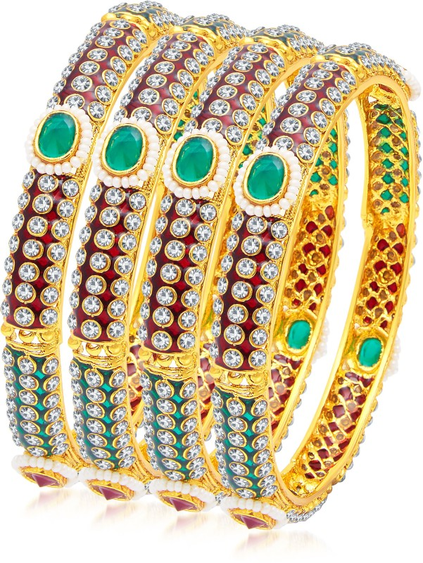 Sukkhi Copper 14K Yellow Gold Bangle Set(Pack of 4)