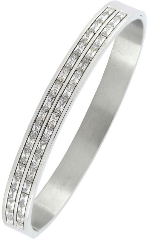 the jewelbox Stainless Steel Cubic Zirconia Rhodium Bracelet