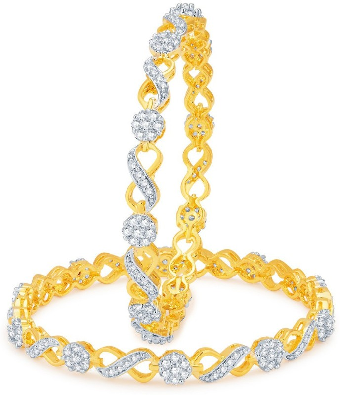 Sukkhi Alloy Cubic Zirconia Gold-plated, Rhodium Bangle Set(Pack of 2)