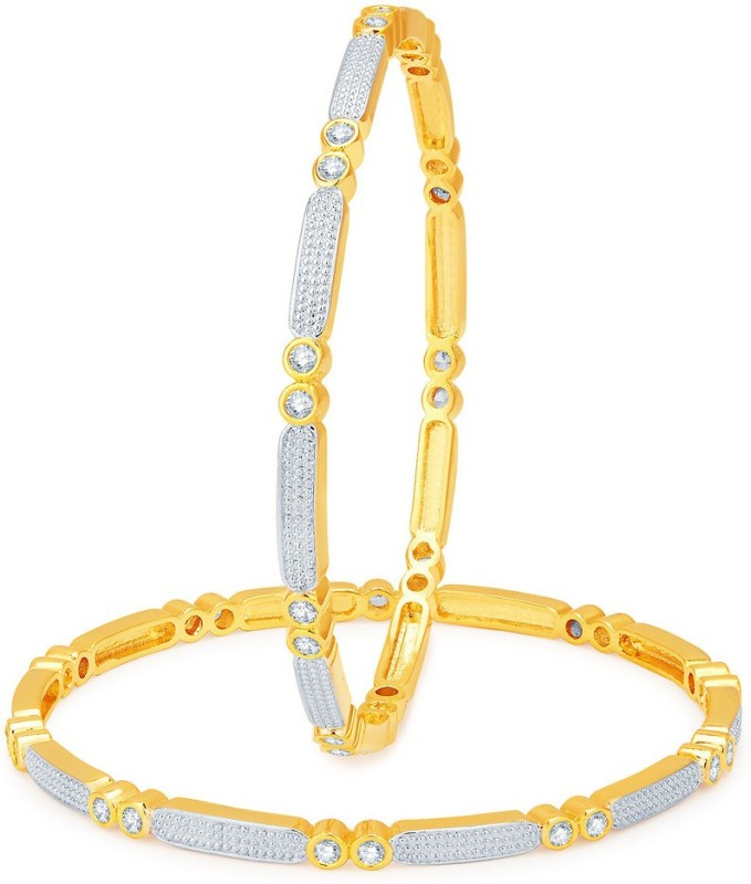 Sukkhi Alloy Cubic Zirconia Gold-plated, Rhodium Bangle Set(Pack of 2)