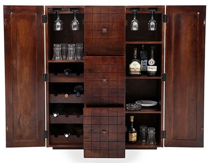 Ringabell Tipsy Bar Solid Wood Bar Cabinet(Finish Color - Mahogany)