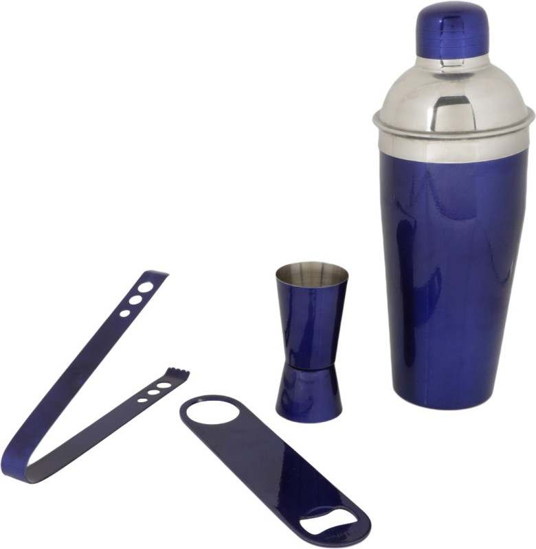 pegs'N'pipes Cocktail Shaker, Jigger, Opener & Tongs Blue 4 - Piece Bar Set(Stainless Steel)