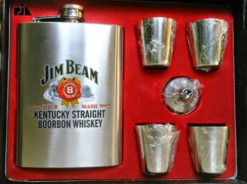 Jim Beam 8oz (236ml) With 4 Glass 6 - Piece Bar Set(Stainless Steel)