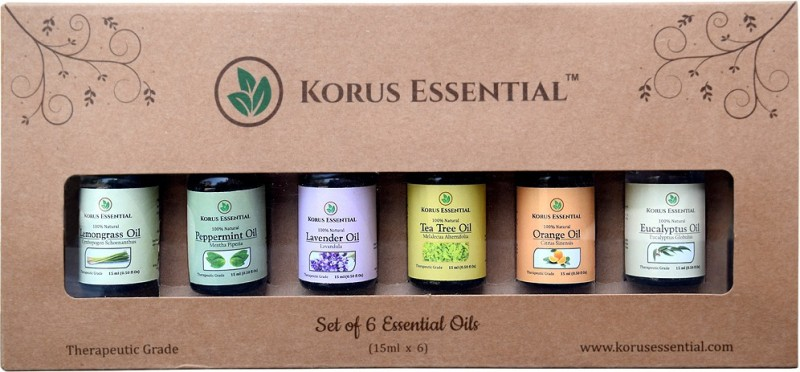 Korus Essential Top 6 Essential Oils for Aromatherapy Set of...