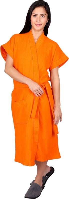 Vixenwrap Orange Free Size Bath Robe(1 Bath Robe, 1 Belt, For: Women, Orange)