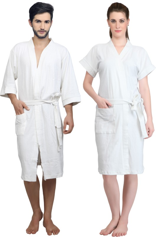 Mark Home White XL Bath Robe(Bath Robe, For: Men & Women, White)