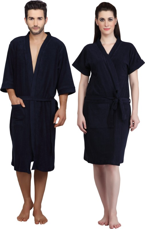 Mark Home Blue XL Bath Robe(Bath Robe, For: Men & Women, Blue)
