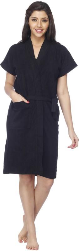 Vixenwrap Jet Black Free Size Bath Robe(1 Bath Robe, 1 Belt, For: Women, Jet Black)