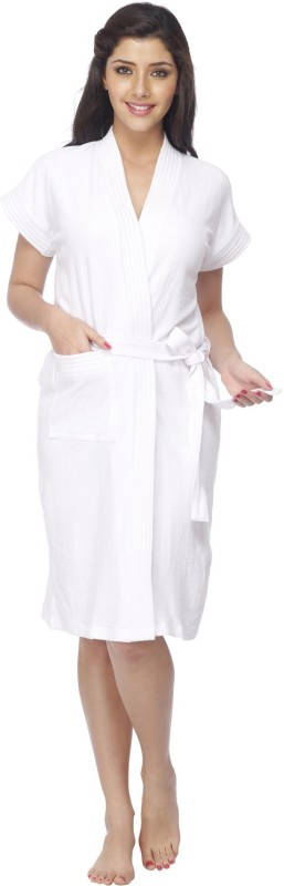 Vixenwrap Crisp White Free Size Bath Robe(1 Bath Robe, 1 Belt, For: Women, Crisp White)