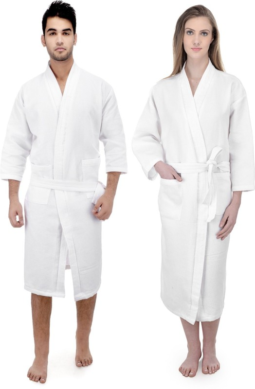 Mark Home White XL Bath Robe(2 Bath Robe, For: Men & Women, White)
