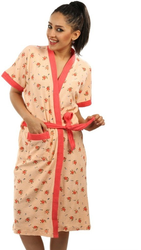 Red Rose Peach XL Bath Robe(Package Contents- 1 Bathrobe, For: Women, Peach)