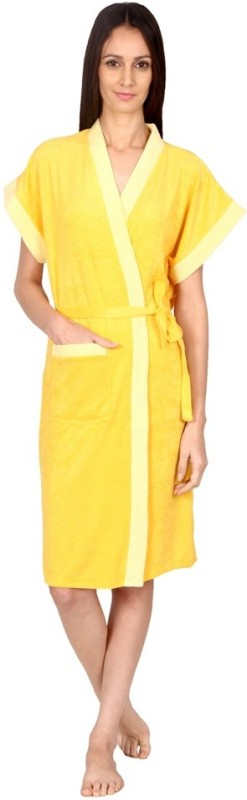 FeelBlue Gold Free Size Bath Robe(Bath Robe, For: Men & Women, Gold)
