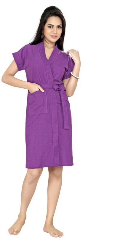 FeelBlue Purple Free Size Bath Robe(Cotton Bath Robe, For: Men & Women, Purple)