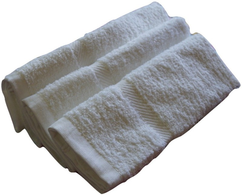 Snuggle Cotton Terry 400 GSM Hand Towel Set(Pack of 3, White)