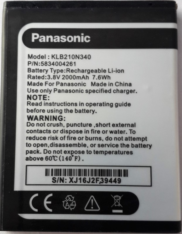 Panasonic Battery - Panasonic Eluga i2 KLB210N340(Black)