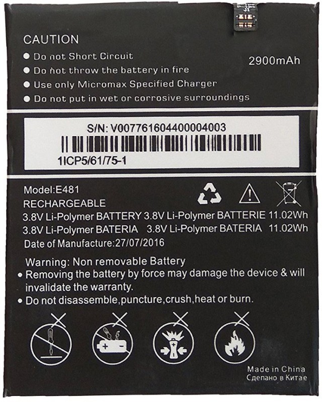 Taaviya Stores E481 Canvas 5  Battery