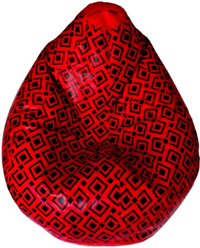 TJAR XXL Bean Bag Cover (Without Beans)(Red, Black)