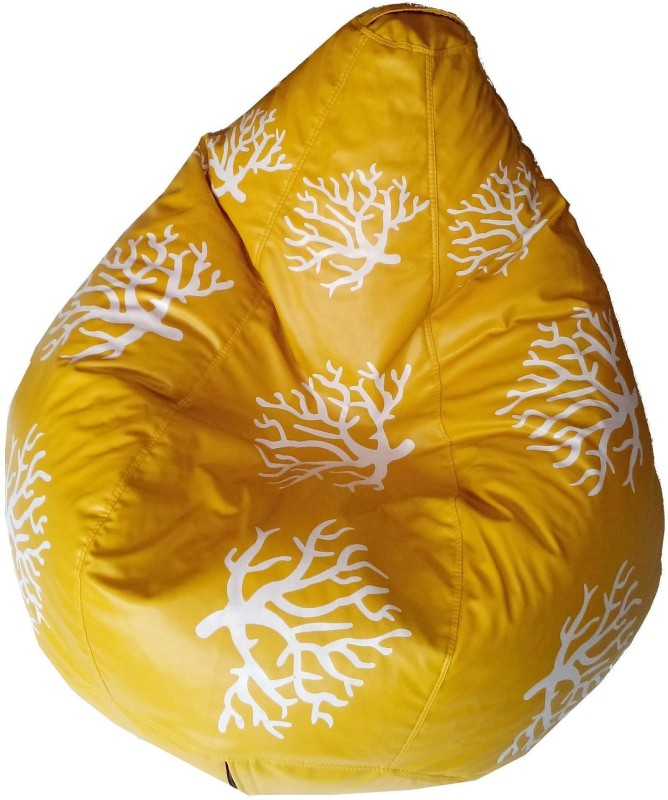 TJAR XXL Bean Bag Cover (Without Beans)(Yellow, White)