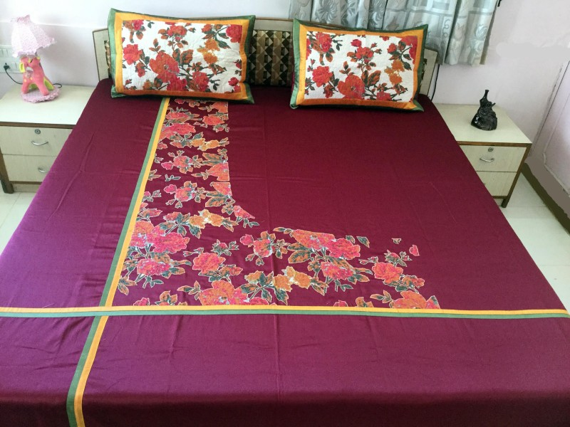 Minky's Decor Cotton, Satin Double Bed Cover(Maroon, 1Bedcover, 2Pillow Covers)