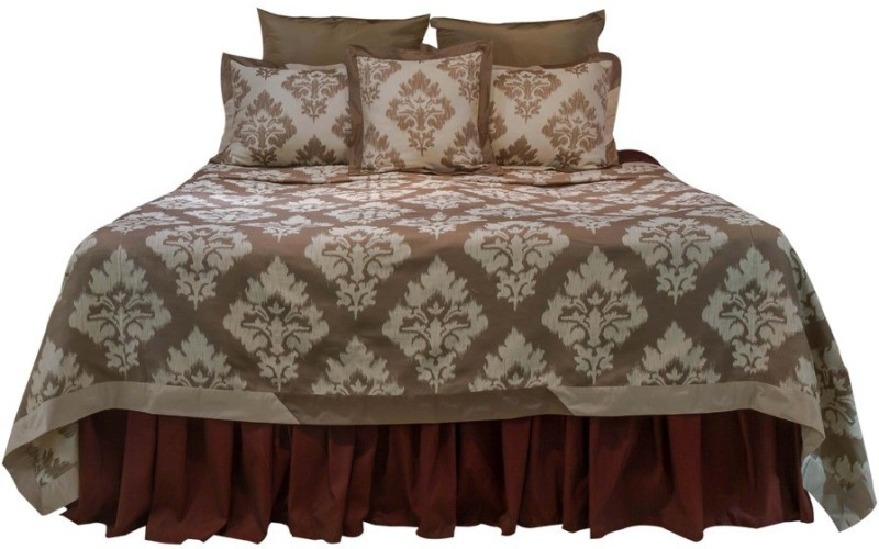 MABA Jacquard Double Bed Cover(Brown)