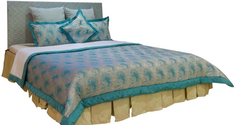 MABA Jacquard Double Bed Cover(Blue)