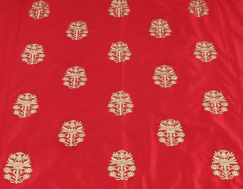Indigenous Handicrafts Silk Double Bed Cover(Red)