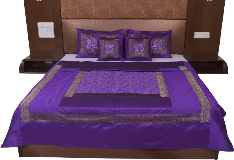Soundarya Silk Double Bed Cover(Purple)