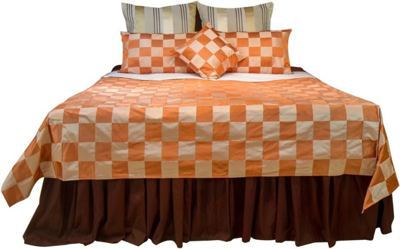 MABA Silk Double Bed Cover(Orange)