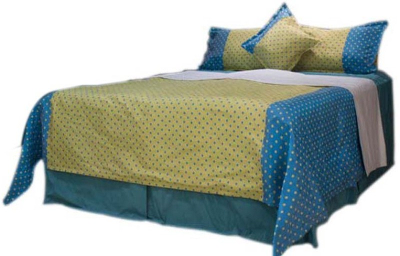 MABA Polyester Double Bed Cover(Yellow)