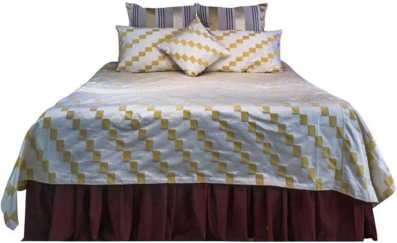 MABA Satin Double Bed Cover(Beige)