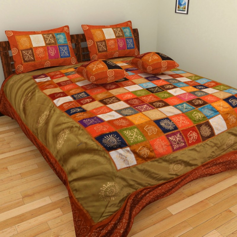 Nirmal Silk, Cotton King Bed Cover(Brown, Yellow, Green, Red, Gold, 1 Bed Cover + 2 Pillow Covers + 2 Cushion Covers)