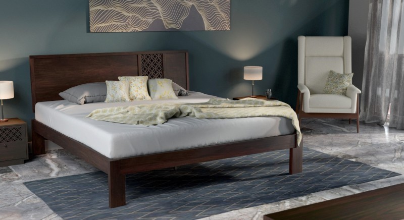 Urban Ladder Alaca Solid Wood King Bed(Finish Color - Mahogany)