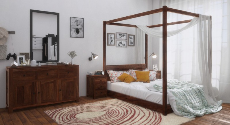 Urban Ladder Striado Solid Wood Queen Bed(Finish Color - Teak)