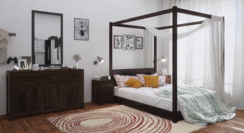 Urban Ladder Striado Four Poster Solid Wood Queen Bed(Finish Color - Mahogany)