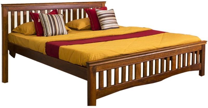 Evok Marko Solid Wood Queen Bed(Finish Color - Honey)