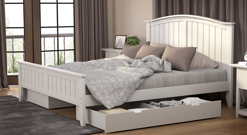 Urban Ladder Wichita Solid Wood King Bed With Storage(Finish Color - White)