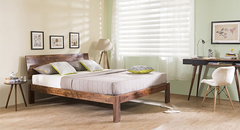 Urban Ladder Boston Solid Wood King Bed(Finish Color - Teak)