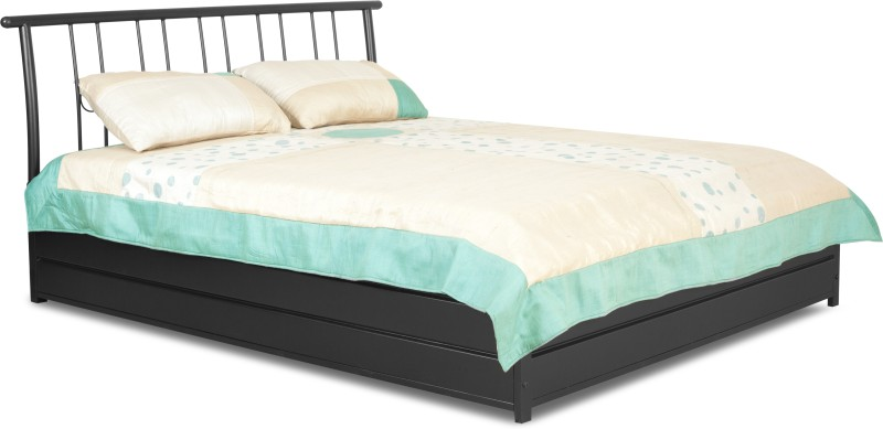FurnitureKraft Manila Metal King Bed With Storage(Finish Color - Black)