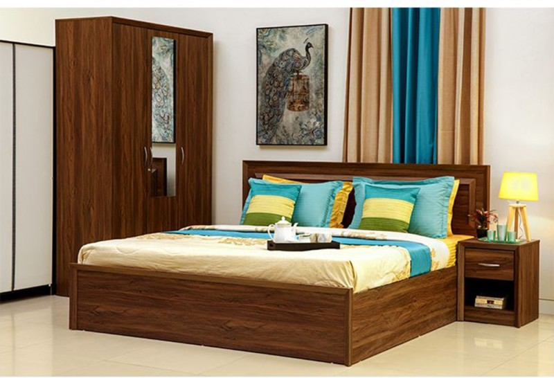 HomeTown Stark Engineered Wood Queen Bed With Storage(Finish Color - Walnut)