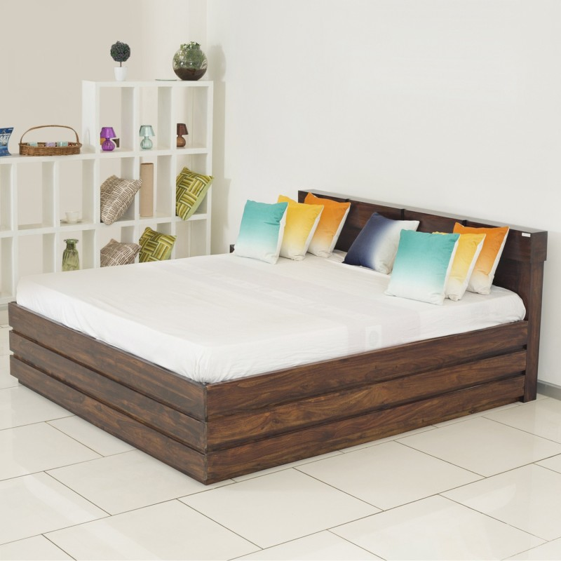 Godrej Interio Grande Solid Wood King Bed With Storage(Finish Color - Drak Brown)