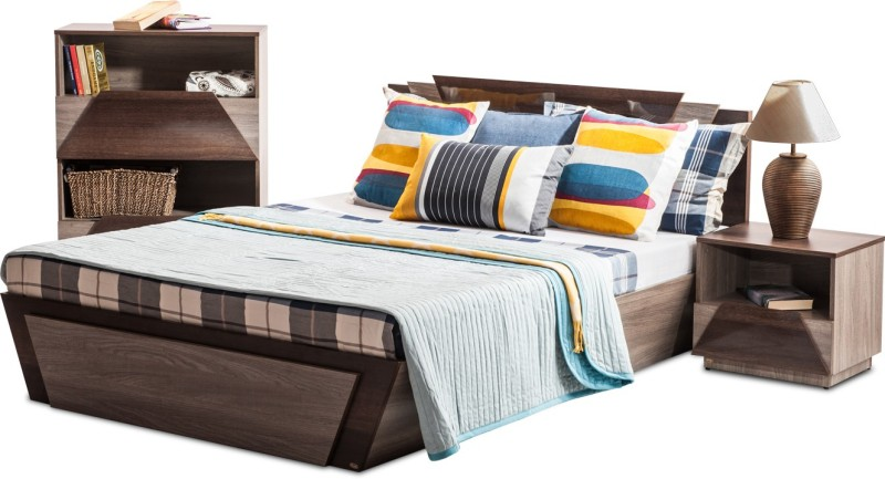 Durian THOMAS/Queen Bed/A Engineered Wood Queen Bed With Storage(Finish Color - Africana/Dark Birch)