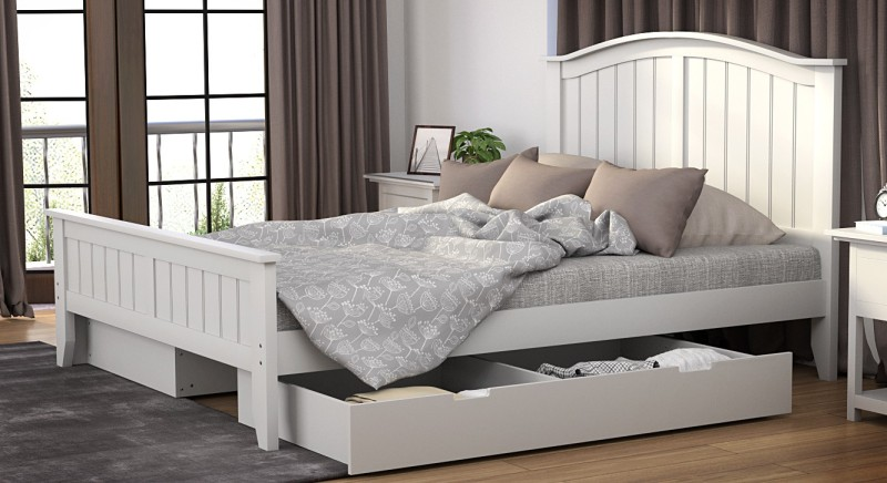Urban Ladder Wichita Solid Wood Queen Bed With Storage(Finish Color - White)
