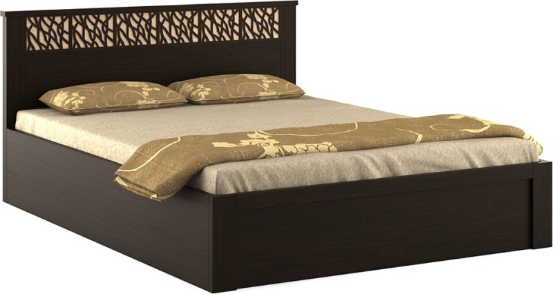 Spacewood Weave Engineered Wood Queen Bed With Storage(Finish Color - Vermount)